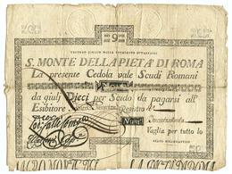 9 SCUDI CEDOLA SACRO MONTE DELLA PIETA' ROMA 21/06/1786 MB/BB - Italien