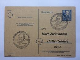 GERMANY Allied Occupation 1949 Postcard To Halle With Niedersedlitz - Goethe Handstamps Sonderstempels - Zona Soviética