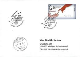 """PORTUGAL - Label Give Bloods - Commemorative Postmark """"World Blood Donor Day"""" ~ Real Circulated ~ - Santé"""