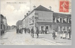 """77 GRETZ BELLE CPA 1907 """"AU RENDEZ-VOUS DES CYCLISTES RUE DE PARIS""""(BELLE ANIMATION) - Gretz Armainvilliers"""