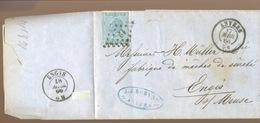 Jolie Lettre Avec 20c  Ø à Point Chiffre 12 De 1866 - 1865-1866 Profil Gauche