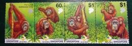 Timbre X 4 - Singapore  Care For Nature Orag Utan - Pongo Pygmaeus - Singapour (1959-...)