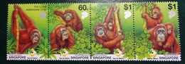 Timbre X 4 - Singapore  Care For Nature Orag Utan - Pongo Pygmaeus - Singapore (1959-...)