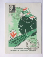 GERMANY Allied Occupation 1952 Illustrated Postcard Magdeburg Handstamp `Einheit Frieden Solidaritat` - Soviet Zone