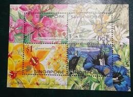 Timbre X 4 - Singapore Flore Plantes Fleurs - Singapore (1959-...)