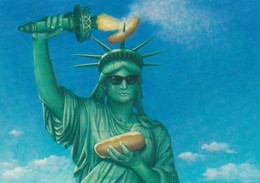 Statue Of Liberty With A Hot Dod , 1950-70s - Statue Of Liberty