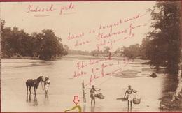 Old Postcard Missionary Post India Bengal Ursulinen Thildonck Missie Natives Crossing The River - Inde
