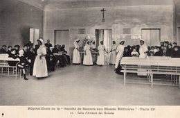 """3168 Cpa Paris - Hôpital Ecole De La Société De """"secours Aux Blessés Militaires """", Salle D'attente Des Malades - Santé, Hôpitaux"""