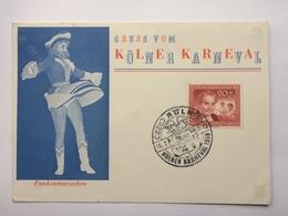 GERMANY 1958 Postcard `Gruss Kolner Karneval` Koln Cologne Handstamp Sonderstempel With `Funkenmariechen` Illustration - Brieven En Documenten