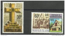 Norfolk Island - 1975 St Barnabas Chapel MNH  **   SG 168-9  Sc 190-1 - Norfolk Island