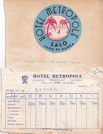 Hotel Metropole Salo Lago Di Garda Old Receipt Bundle - Italy