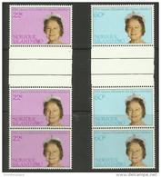 Norfolk Island - 1980 Queen Mother Birthday Gutter Strip Of 3 Sets MNH  **   SG 252-3  Sc 271-2 - Norfolk Island