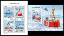 MOZAMBIQUE 2019 - Icebreakers, Helicopters. M/S + S/S. Official Issue - Helicopters