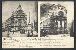 +++ CPA - BRUSSEL - BRUXELLES - Incendie De L'Hôtel Continental - 2 Vues - Avant Après   // - Cafés, Hotels, Restaurants