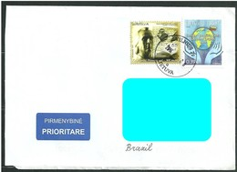 LITHUANIA To Brazil Cover Sent In 2014 With 02 Topical Stamps World Eath Hands Ink (GN 0177) - Litauen