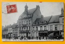 8723 - Frévent La Place De L'Hôtel De Ville Animée - France