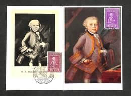 BELGIQUE - BELGIE - CONGO BELGE - 2 Cartes Maximum 1956 - 1957 - MOZART - Cartoline Maximum