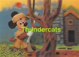CPSM WALT DISNEY CARTE A SYSTEME 3D LENTICULAR CARD MICKEY MOUSE THE HUNTER - Disney