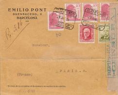 1938 Lettre Recommandée De BARCELONA à PARIS  EL641 - 1931-50 Cartas