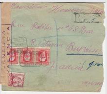 1937 LR De CUENCA   à  BORDEAUX  CENSURA VALENCIA   EL647 - 1931-50 Cartas