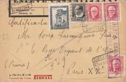1937 LR De BARCELONA   à  PARIS   PIRELLI LINOLEUM    EL650 - 1931-50 Cartas