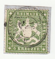Württemberg 1860 Michel Nr. 18 Xa Gestempelt Auf Briefstück, 6 Kr. Grün (Michel 150 Euro) - Wuerttemberg