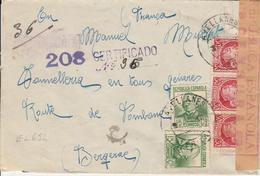 1938 LR De AVELLANES  à BERGERAC   Censure De Barcelone    EL652 - 1931-50 Cartas