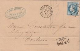 Yvert 29A Lettre CASTRES Sur L' Agout Tarn 29/11/1867 GC 772 à Toulouse Haute Garonne - 1849-1876: Classic Period