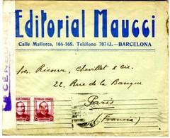 1937 Lettre De Barcelone EDTORIAL MAUCCI  Publicité Au Dos. Vers PARIS    EL620 - 1931-50 Cartas
