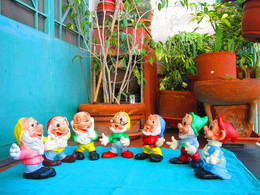 Disney 7 NANI Sonori In Gomma Anni '60 - Seven Dwarfs Sound Rubber Toys 60 Years - Other Collections
