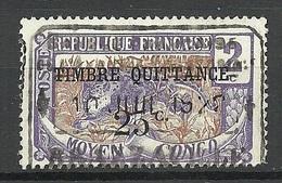 MOYEN CONGO FRANCE Colony Taxe Tax Revenue Timbre Quittance O - Französisch-Kongo (1891-1960)