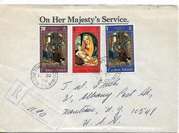 CAYMAN ISLANDS 1970 REGISTERED COVER  Sent To N.Y. 3 Christmas Stamps COVER USED - Caimán (Islas)