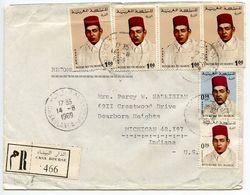 Morocco 1969 Registered Cover Casablanca To U.S., Scott 175 179 & 185 Hassan II - Morocco (1956-...)