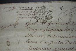 1740 Preuves De La Généalogie De Gabriel François Daraine Lieutenant Général Au Baillage De Compiègne, Conseiller Du Roi - Manuscripts