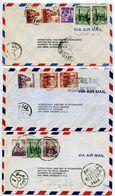 Egypt 1950's 3 Airmail Covers Cairo & Sidi Gaber To Ann Arbor Michigan - Egypt