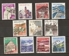 Suisse 1973/91 - Paysages - Petit Lot De 11° -  Engadine - Vaud - Grisons - Simmental - Centre - Valais - Sopraceneri - Stamps