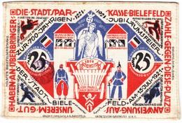 1921 Stadtsparkasse Bielefeld 25 Mark Seidenbanknote - Zwischenscheine - Schatzanweisungen