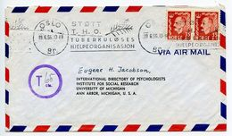 Norway 1956 Airmail Cover Oslo To Ann Arbor MI, Postage Due Markings - Norway
