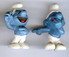 2 Figurines Vintage SCHTROUMPF MDRRR © 1970 PEYO SCHLEICH HONG KONG - Schtroumpfs