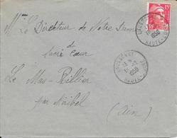 HAUTE LOIRE 43   -    LAUSSONNE    -  CACHET RECETTE R A6 -  1950 - Postmark Collection (Covers)
