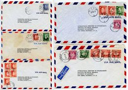 Norway 1950's 5 Airmail Covers Oslo To U.S., Mix Of CDS Postmarks & Stamps - Norway