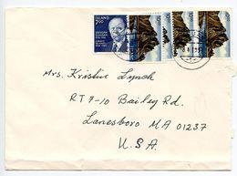 Iceland 1991 Cover Reykjavik To Lanesboro MA, Scott 585 & 728 X 4 - 1944-... Republic