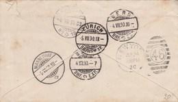 Lettre Des USA Pour Berne - Cachet Au Verso : Bern + Zürich +  Mannedorf + New-York - 1882-1906 Coat Of Arms, Standing Helvetia & UPU