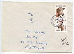 Sweden 1995 Cover Karlstad To Rakvere Estonia, Scott 2049-2050 Cow & Goat - Sweden