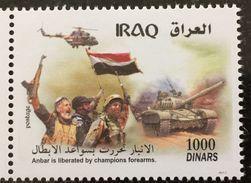 Iraq Army 2016 October MNH Stamp Liberation Of Anbar T-72 Tank Mi-8 Helicopter - Iraq