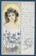 Carte Art Nouveau - Femme Et Fleurs - Illustrateurs & Photographes