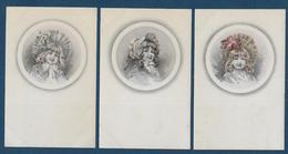 Fillettes Dans Médaillon - 3 Cartes - Illustrateurs & Photographes