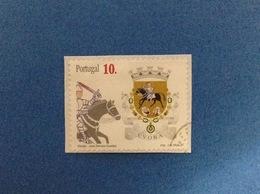 1997 PORTOGALLO PORTUGAL STEMMA ARALDICO EVORA 10 FRANCOBOLLO USATO STAMP USED - 1910 - ... Repubblica