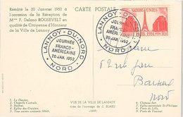 FRANCE - CP JOURNEE FRANCO-AMERICAINE LANNOY-DU-NORD 20.1.1952 - Yv N°911 /1 - 1921-1960: Modern Period