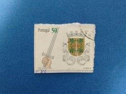 1998 PORTOGALLO PORTUGAL STEMMA ARALDICO VILA REAL 50 FRANCOBOLLO USATO STAMP USED - 1910 - ... Repubblica